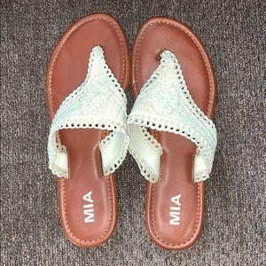MIA cream crochet flip flop thong sandal leather